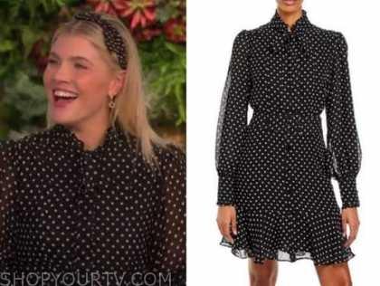 amanda kloots, the talk, black polka dot tie neck dress