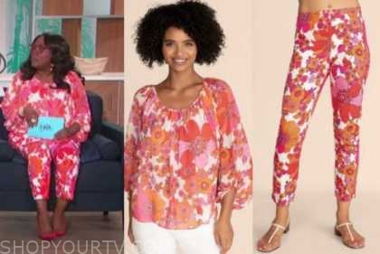 sheryl underwood, the talk, pink and orange floral top and pants