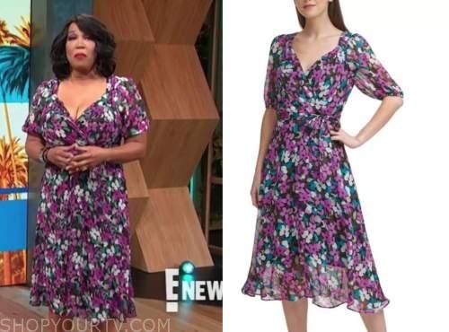 kym whitley, E! news, daily pop, purple floral midi dress