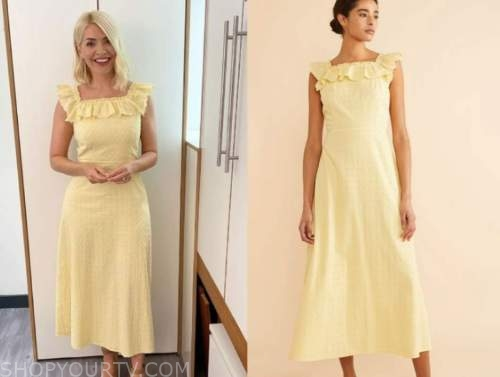 holly willoughby, this morning, yellow embroidered ruffle midi dress