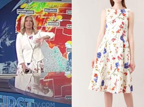 janice dean, fox and friends, white floral flare dress