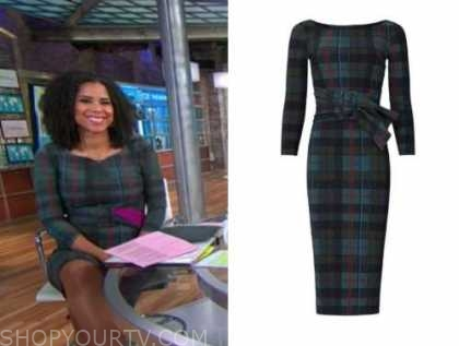 adriana diaz, cbs this morning, plaid belted sheath dress