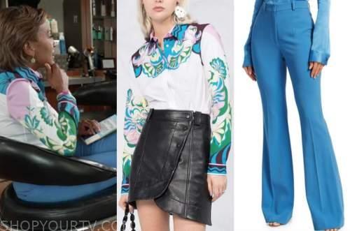 robin roberts, good morning america, printed shirt, blue pants