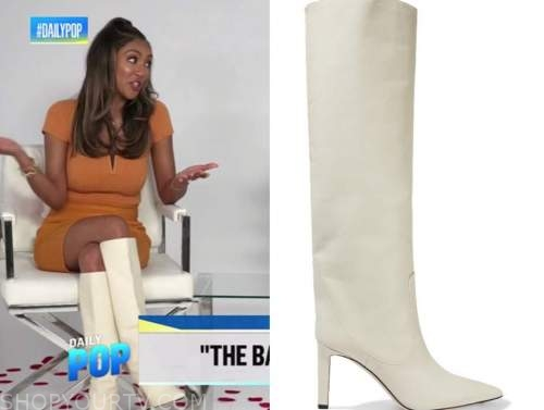 tayshia adams, the bachelorette, ivory leather boots, E! news, daily pop