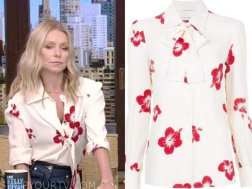 live with kelly and ryan, kelly ripa, white and red floral tie neck blouse