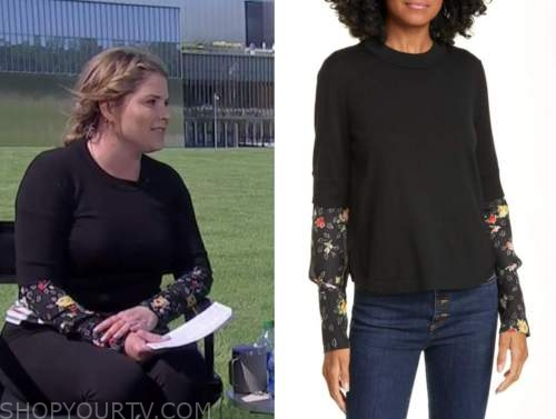 the today show, jenna bush hager, black floral sleeve sweater