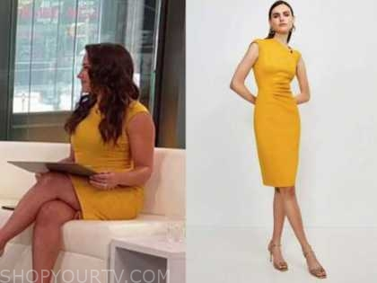 emily compagno, outnumbered, yellow sheath dress