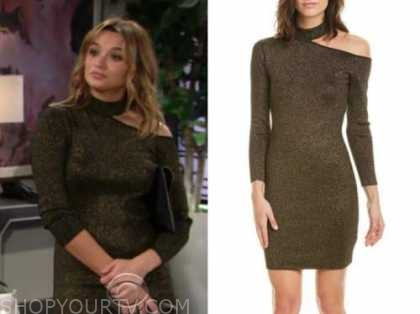 summer newman, hunter king, the young and the restless, gold metallic knit dress