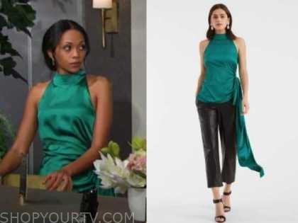 amanda sinclair, the young and the restless, mishael morgan, green silk mock neck top