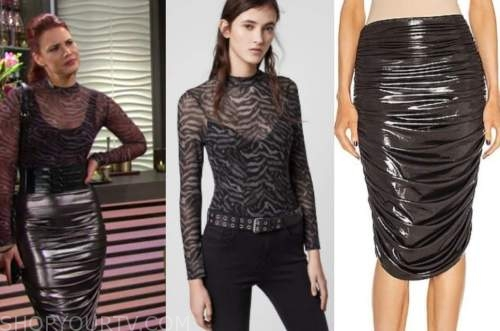 sally spectra, courtney hope, the young and the restless, zebra top, metallic ruched skirt