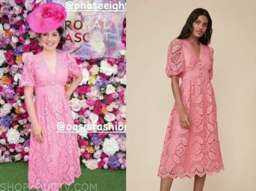 laura tobin, good morning britain, pink lace midi dress