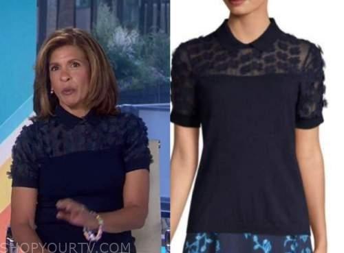 hoda kotb, the today show, navy blue floral collar short sleeve sweater