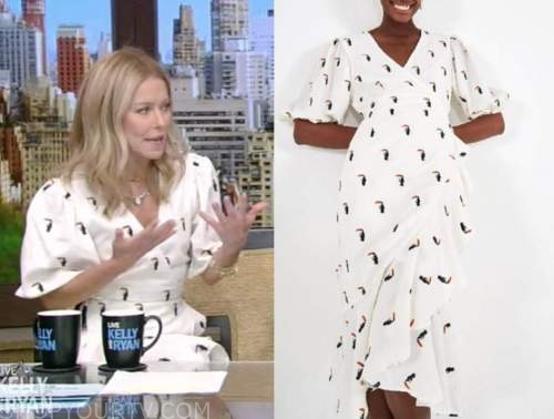 kelly ripa, live with kelly and ryan, white toucan wrap dress