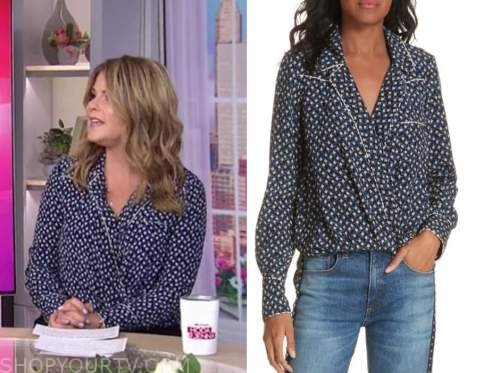 kelly ripa, live with kelly and ryan, blue dot wrap top