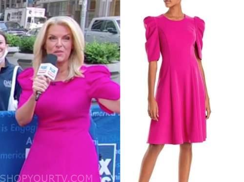 janice dean, fox and friends, hot pink puff sleeve dress