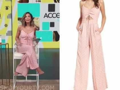 courtney mazza, access daily, pink polka dot jumpsuit