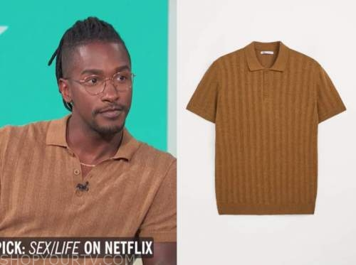 scott evans, access daily, camel striped polo shirt