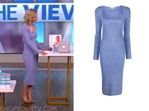 sara haines, the view, blue square neck knit dress