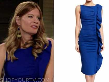 michelle stafford, phyllis newman, the young and the restless, blue side ruffle dress