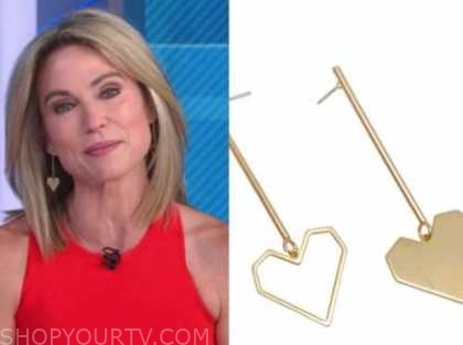 amy robach, good morning america, gold heart drop earrings