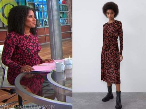 adriana diaz, cbs this morning, red leopard dress