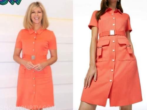 kate garraway, good morning britain, coral orange dress