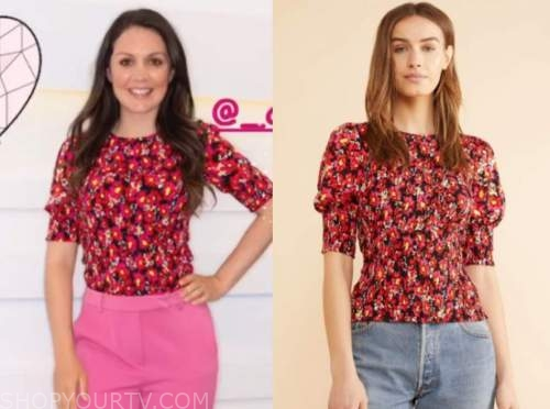 laura tobin, good morning britain, red floral top