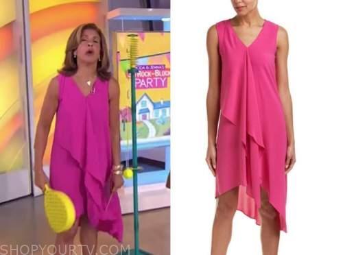 hoda kotb, the today show, hot pink asymmetric drape dress