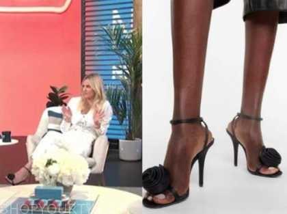 morgan stewart, E! news, daily pop, black rose print sandals