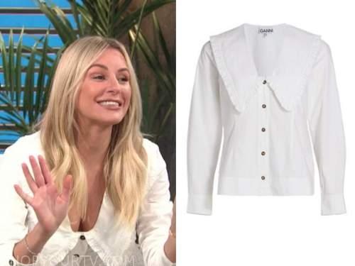 morgan stewart, E! news, daily pop, white ruffle trim collar shirt