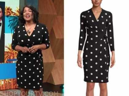 kym whitley, E! news, daily pop, black polka dot wrap dress
