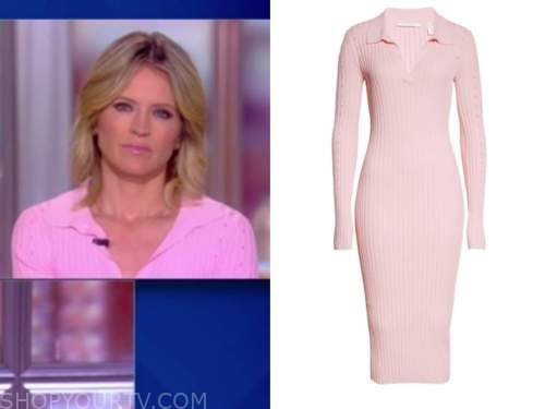 sara haines, the view, pink ribbed knit dress