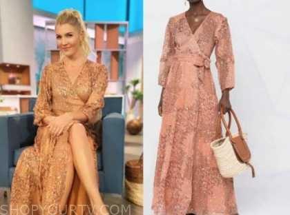 amanda kloots, the talk, pink printed wrap maxi dress