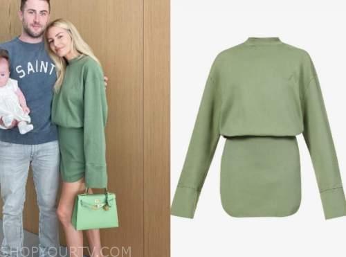 morgan stewart, green sweatshirt dress, instagram fashion