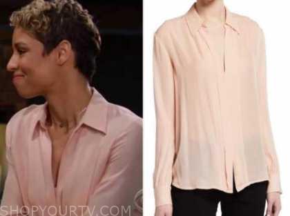 elena dawson, brytni sarpy, the young and the restless, pink shirt