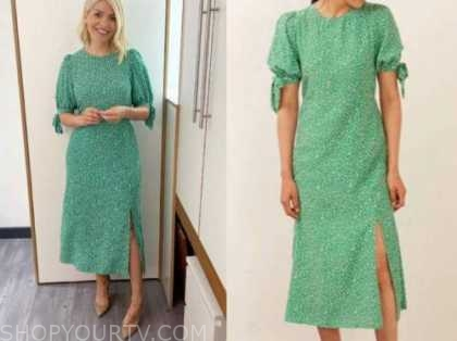 holly willoughby, this morning, green floral midi dress