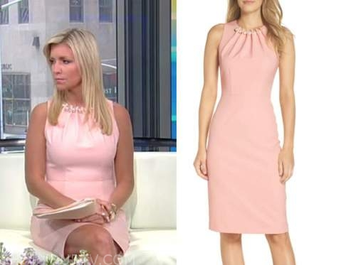 ainsley earhardt, fox and friends, pink pearl dress