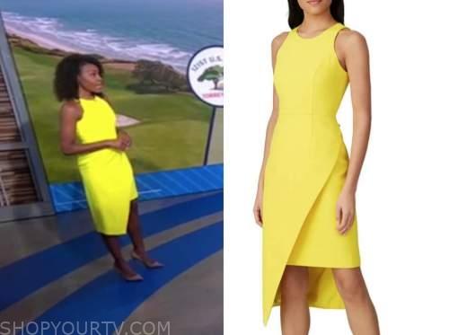 janai norman, good morning america, yellow asymmetric sheath dress