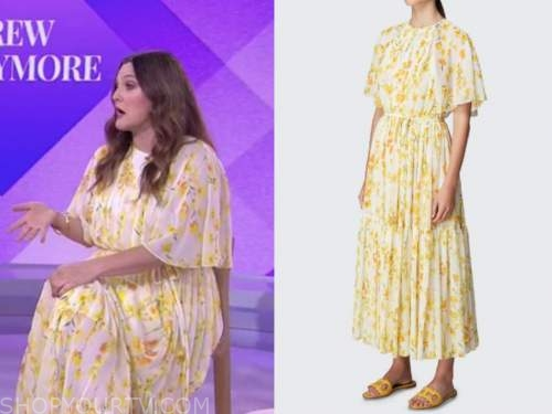 drew barrymore, the today show, yellow floral midi dress