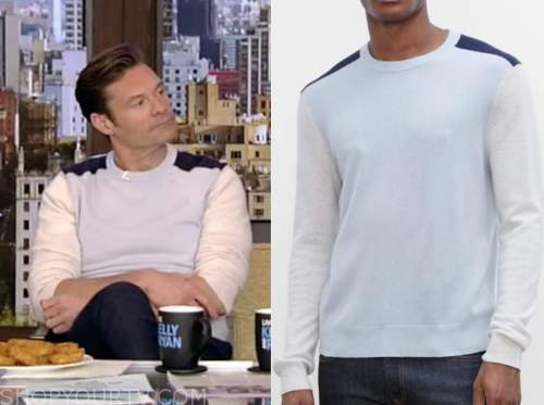 ryan seacrest, live with kelly and ryan, colorblock sweater