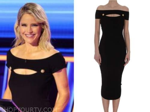 the chase, sara haines, black knit off-the-shoulder dress