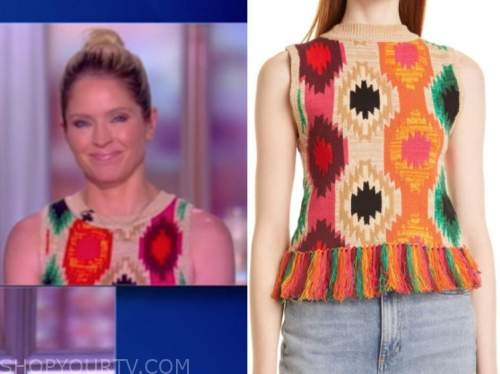 the view, sara haines, multicolor knit sleeveless top