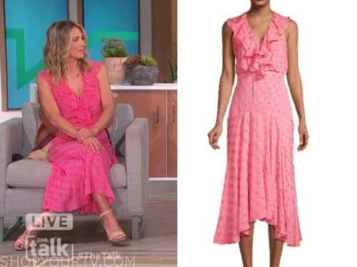 debbie Matenopoulos, the talk, pink ruffle dot midi dress