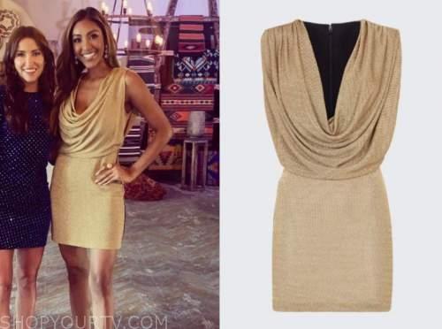 tayshia adams, the bachelorette, gold metallic drape cowl dress