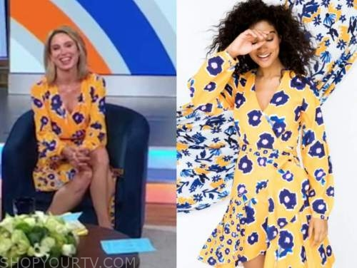 amy robach, good morning america, yellow floral wrap dress