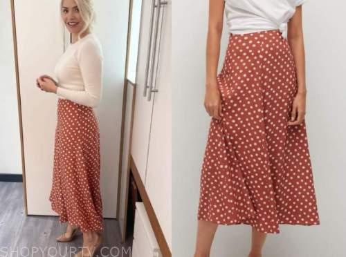 this morning, holly willoughby, polka dot midi skirt