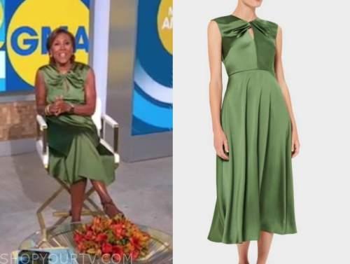 robin roberts, good morning america, green satin twist midi dress