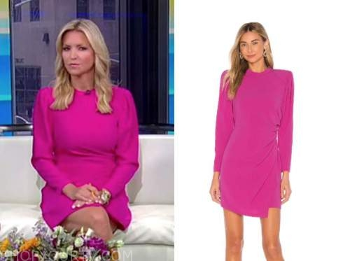 fox and friends, ainsley earhardt, hot pink mock neck dress