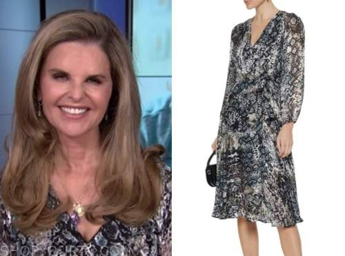 maria shriver, the today show, animal print silver wrap dress