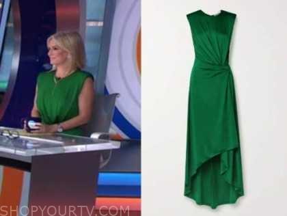 dr. jennifer ashton, good morning america, green midi dress